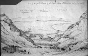 Fox, William 1812-1893 :Part of the Great Plain of the Canterbury settlement 1850 by W Fox Esq. Smoke at the site of Lyttelton. River Avon or Shakespere. Forty Miles Beach. [1850 or 1851]