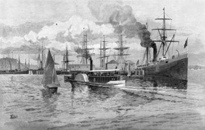 Schell, Frederic B, d. 1905 :Mail steamer leaving Auckland [Sydney; Picturesque Atlas Publishing Co. Ltd., 1886]