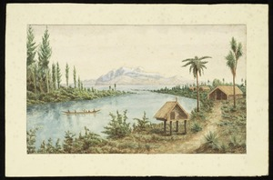 Alington, John Sydney, 1879-1941 :[Maori settlement looking across Lake Taupo to the central volcanic plateau] 1924