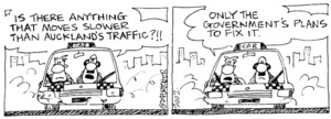 Fletcher, David 1952-:'Is there anything slower than Auckland's traffic?' 'Only the government's plans to fix it.' The Dominion, 27 February 2002.