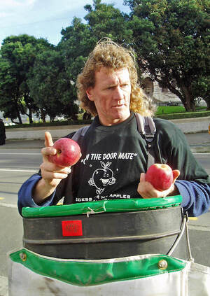 Participant in apple growers' demonstration, Wellington