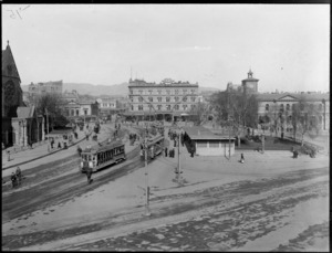 Cathedral Square, Christchurch, including trams