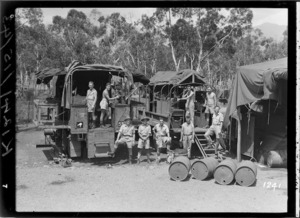 World War 2 soldiers in front of lorries, New Caledonia