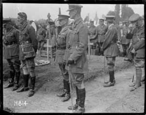 General Godley at a military funeral, Bailleul, World War I