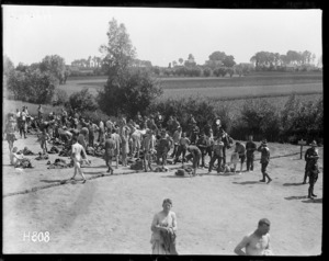 New Zealand troops dressing after a bath on return from the lines, World War I