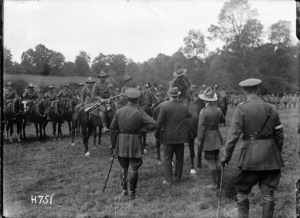 Prime Minister William Massey meets the Otago Mounted Rifles in France, World War I