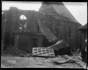The exterior of a church deliberately shelled by heavy artillery during World War I