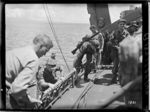 New Zealand, World War 2 troops, embark for a commando raid in the Pacific