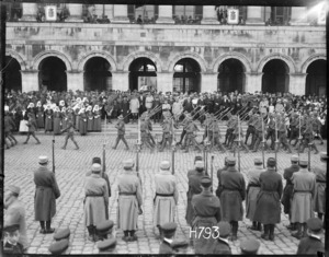 New Zealand troops marching past at the Fete National, Hazebrouck, World War I
