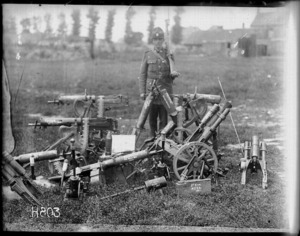 Guarding the guns captured at Messines, World War I