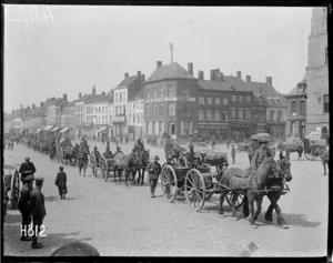 New Zealand troops march through Bailleul, France