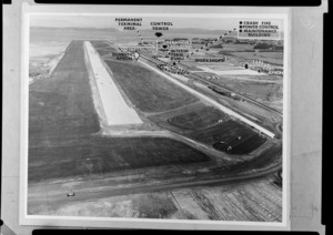 View of Mangere Aerodrome under construction, Manukau, Auckland, with overlaid diagram by an unidentified designer, indicating layout of hangars, control tower, workshops, and other structures