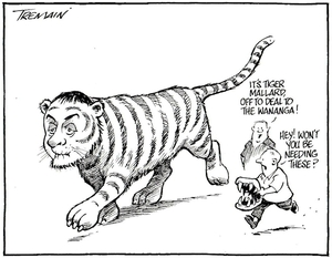 """Tremain, Garrick, 1941- :""""It's Tiger Mallard, off to deal with the Wananga!"""" Otago Daily Times, 23 June 2005."""