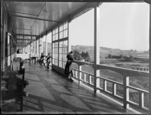 Group on a balcony, King George V Coronation Memorial Hospital, Christchurch