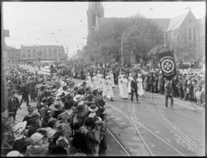 St John Ambulance nurses in the parade procession, World War One, Cathedral Square, Christchurch