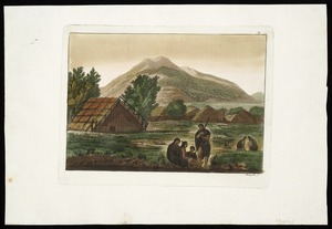 [Webber, John] 1751-1773 :[The inside of a hippah in New Zealand, 1778-1779. Plate] 69 [Etched by] Fumagalli. [Milan? G. Ferrario, 1827?]