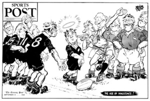 Colvin, Neville Maurice, 1918-1991 :The age of innocence! Sports Post. The Evening Post, 10 September 1949.