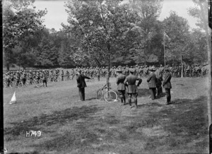 Prime Minister William Massey and Sir Joseph Ward visit the New Zealand Cyclist Battalion in France, World War I