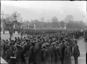 Australian troops marching past Buckingham Palace, London