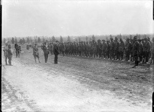 William Massey addressing the New Zealand Tunnelling Company near Arras, during World War I