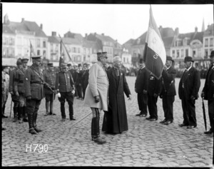 A French general inspects French veterans at the Fete National celebrations, Hazebrouck