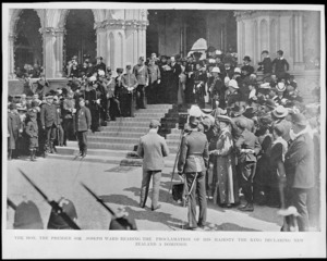 Prime Minister, Joseph Ward, on the steps of the General Assembly Library, Wellington, reading his message at an official ceremony during which New Zealand was proclaimed a dominion