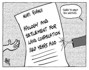 """Ngati Ruanui. Apology and settlement for land confiscation 140 years ago. """"Sorry to keep you waiting."""" 5 June, 2003."""