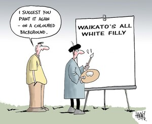 """Waikato's all white filly. """"I suggest you paint it again - on a coloured background. 26 October, 2006."""