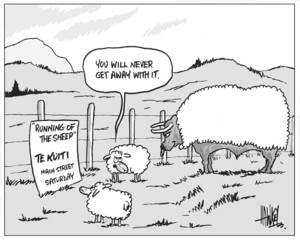 """Running of the sheep - Te Kuiti, Main Street, Saturday. """"You will never get away with it."""" 2 April, 2004."""