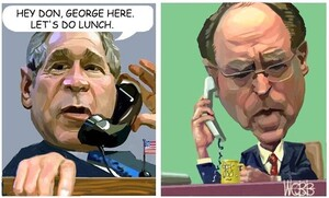 Webb, Murray, 1947- :George W. Bush and Don Brash. Hey Don, George here. Let's do lunch. [ca 15 May 2004].