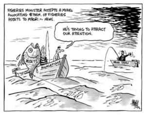 """Fisheries Minister accepts a model allocating $700m. of Fisheries' assets to Maori.- News. """"He's trying to attract our attention."""" 9 June, 2003."""