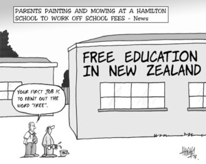 Hawkey, Allan Charles, 1941-:Parents painting and mowing at a Hamilton School to work off school fees- News. Waikato Times, 29 October 2004.