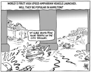 """World's first high speed amphibian vehicle launched. Will they be popular in Hamilton? """"It sure beats peak hour traffic on the city bridges."""" 5 September, 2003."""