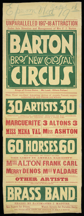Barton Bro[ther]s' New Colossal Circus; Unparalleled 1917-18 attraction. 30 artists; 60 horses, Brass band. [1917].