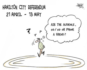 "Hamilton City referendum, 21 April - 13 May. ""Ask the audience, 50/50, or phone a friend?"" 12 May, 2006"