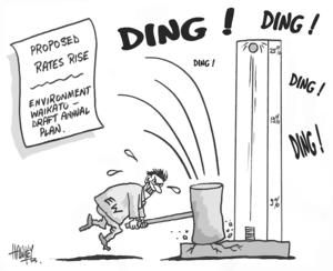 Hawkey, Allan Charles, 1941-:Proposed rates rise. Environment Waikato - draft annual plan. Waikato Times, 29 April 2005.
