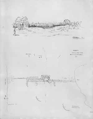 Heaphy, Charles 1820-1881 :Rangiriri, sketch of Maori works taken the day of the capture, 1863.