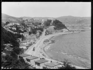 Looking over Oriental Bay, Wellington, from above Oriental Parade