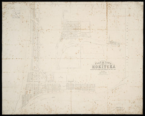 Plan of town of Hokitika, shewing the sections to be offered at the first sale [cartographic material] / drawn by John Rochfort.