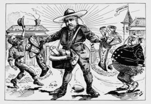 Blomfield, William, 1866-1938 :New Zealand Santa Claus. New Zealand Observer and Free Lance, Saturday December 24, 1892.