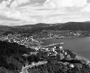 Photograph of Wellington City and harbour taken from above Oriental Bay
