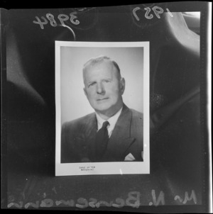 National Party candidate, Mr N Bensemann - Photograph taken by Earle Andrew