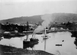 Ships on the Whangarei river and the view looking towards Whangarei township