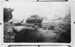 Tank in the ruins of Cassino, Italy