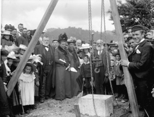 Richard John Seddon and his wife, Louisa Jane Seddon, at the laying of the foundation stone for the South African War Memorial in Ross, West Coast region