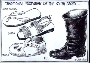 Traditional footwear of the South Pacific... Cook Islands, Samoa, Tonga, Fiji. 15 April 2009