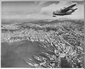 Flying boat Ararangi flying over Wellington