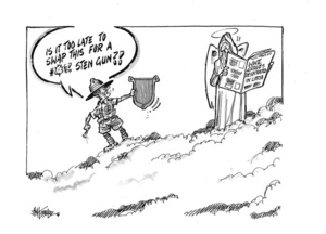 Hubbard, James, 1949- :'Is it too late to swap this for a *#$! sten gun?!' 8 March 2012