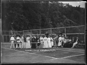 Group on a tennis court at Whangaparapara, Great Barrier Island