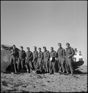 New Zealand engineers clearing airfields in Tripolitania, Libya - Photograph taken by H Paton